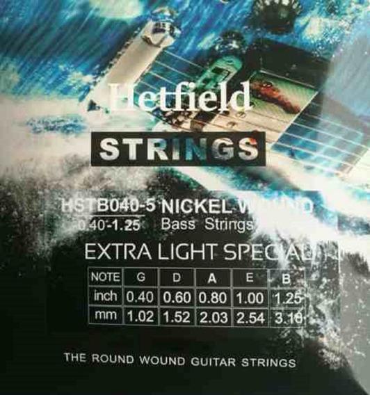 Encordado Para Bajo 5 Cuerdas Hetfield Strings Hstb040-5