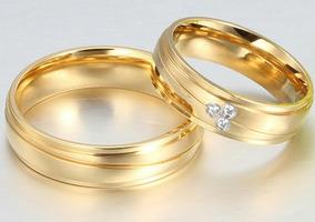 Par De Alianças 3 Banhos Casamento Noivado Banhada Com Pedra
