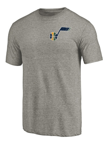Remera Basket Nba Utah Jazz Logo En El Corazón Gris Melange