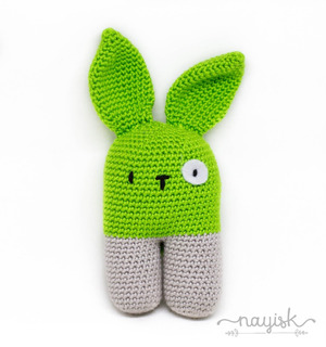 Amigurumi Sonaja Crochet Ganchillo Conejo Bipedo Verde Limon