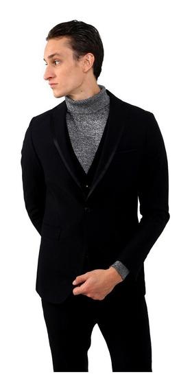 Saco Hombre Solapa Clásica Color Negro Lob