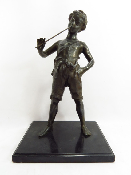 Escultura Menino Flautista Petit Bronze Europeu Belíssimo
