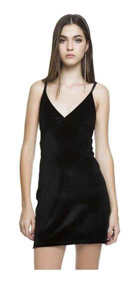 Vestido Velvet Casual Cuello Descubierto Mujer Complot