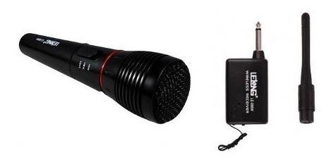 Microfone Dinamico Sem Fio Modelo Le-996w Alcance 30mts