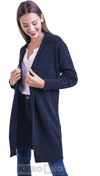 Cárdigan Tapado Largo Saco S/ Botones Sweater Mujer Kierouno