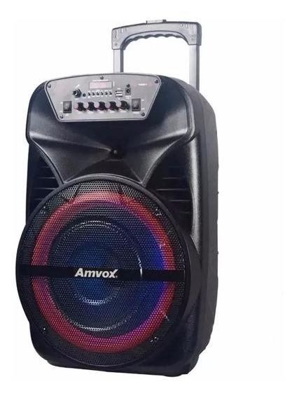 Caixa De Som Amplificada Amvox Aca Black Bluetooth Microfone
