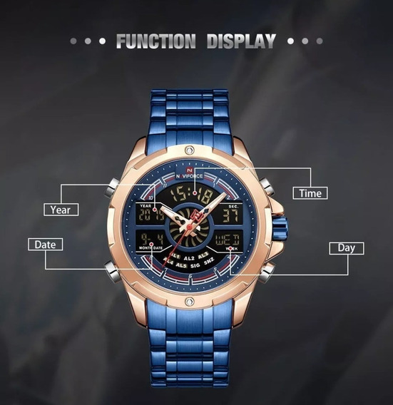 Relógio Naviforce 9170 Luxo Esporte Digital Luxo Dourado