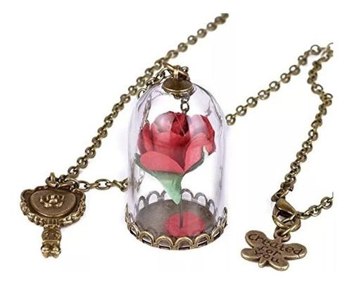 Collar Rosa Encantada En Cristal La Bella Y La Bestia Pétalo Flor Natural Diferentes Colores Cadena Dorado Antiguo Moda