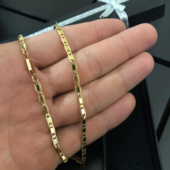 Cordão Colar Cadeado Achatado Folheado A Ouro 18k Discreto