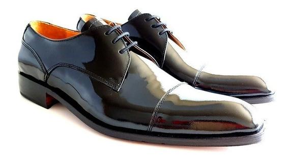 Zapato De Charol Leonetti, Cuero Legitimo Vestir Hombre