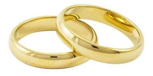Aliança Tradicional Abaulada Ouro 18k Banhada Tungstênio 4mm