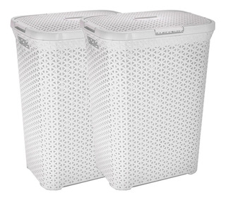 Canasto Cesto Para Ropa Sucia Baño Plastico Rattan Grande X2 Colombraro