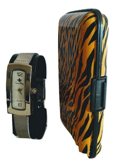 Relógio De Pulso Feminino Luxo Pequeno Prata Com Carteira Case Porta Cartão Luxo Feminino +brinde+frete Grátis