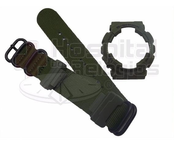 Kit Casio G-shock Ga-100 Ga-110 Verde C/ Pulseira Nato Zulu