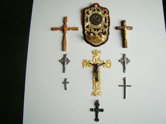 8 Crucifijos Antiguos Y 1 San Cayetano
