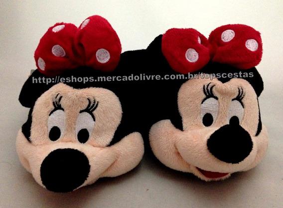 Pantufa Infantil Preta Minnie Mouse Disney - Tamanho 32/33