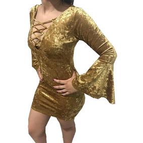 7b3afe2730 Vestido Manga Longa - Vestidos Curtos Femininas Dourado escuro no ...