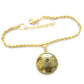 Pulseira Berloque Pingente Medalha Pai Nosso Folheado Ouro