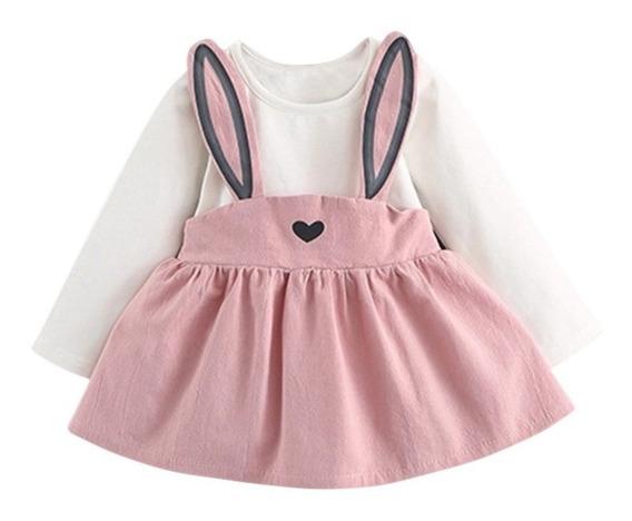 Vestido Niña Bonito Kawaii Orejas De Conejo Bebe Rosa