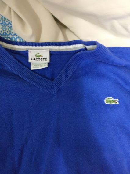 Blusa Moletom Lacoste Azul Tamanho 5 Original E Usada