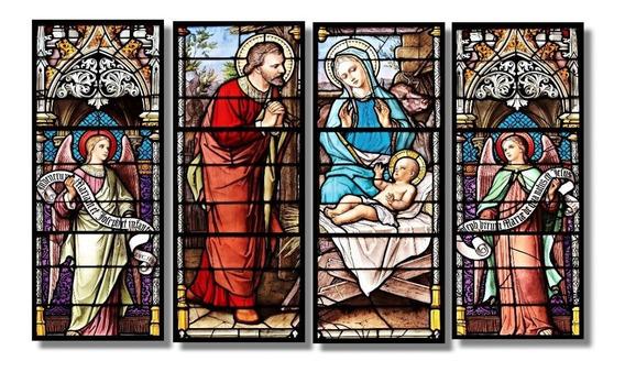 Quadro Vitraux Medieval Religioso Fine Art 4 Quadros1,00x60