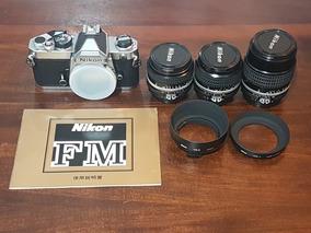 Kit Nikon Fm E Lentes Ais + Manual Origibal Japonês