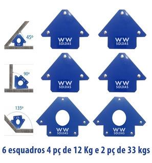 Esquadro Magnetico P/ Solda 6 Peças - 4-12kg + 2-33kg