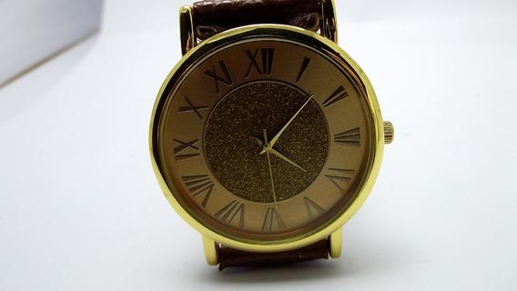 Relógio Quartz Dourado Feminino Algarismo Top
