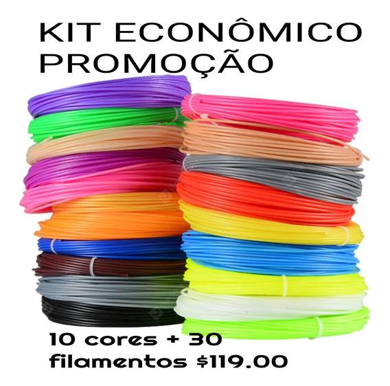 Kit 30 Filamentos Abs Para Caneta 3d Pla Impressora 150 Mt