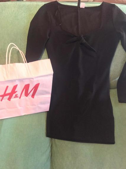 Vestido H&m Elastisado Corto Fiesta After Oficina Moda