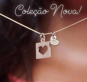 Colar Rommanel Feminino Conjunto Com Pingente Coração Ouro
