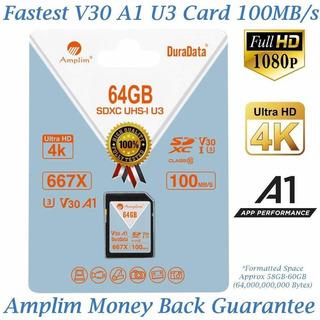 Amplim 64gb Sdxc Sd Card (v30 A1 U3 Uhs-i Class 10 Extreme P