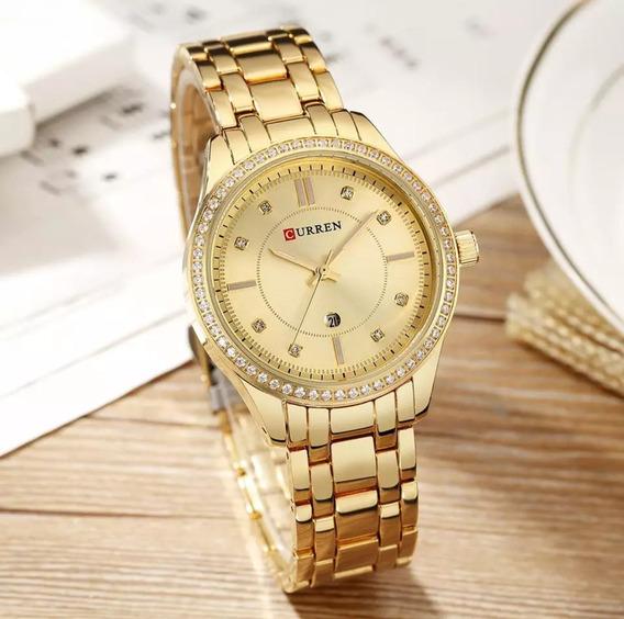 Relógio Feminino Curren Dourado De Luxo Modelo 9010 Quartz + Estojo Curren