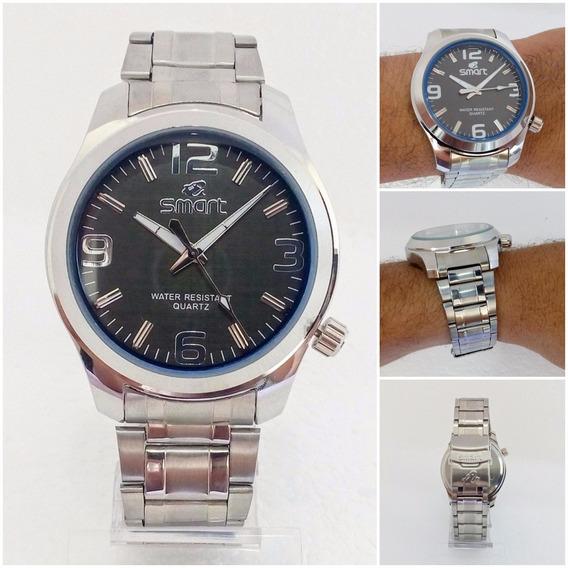 Relógio Masculino Original Prateado Smart Aço Inox Pv Dágua