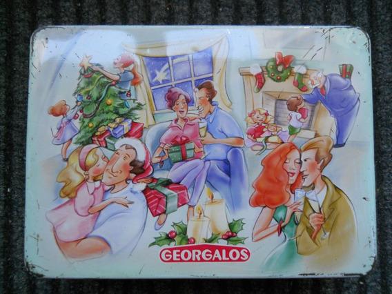 Antigua Lata Caja De Galletitas Georgalos Navidad