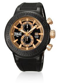 Relógio Everlast Cronógrafo Caixa Aço E Pulseira Silicone E5