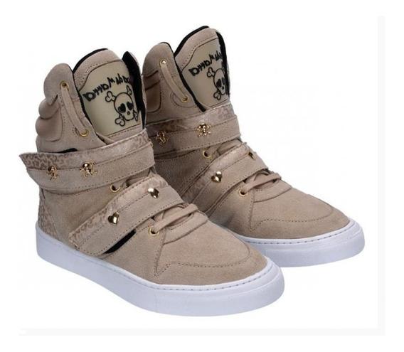 Bota De Treino Feminino Couro Tênis Sneaker Cheia De Marra