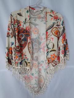 Kimono Estampado Do Com Franja