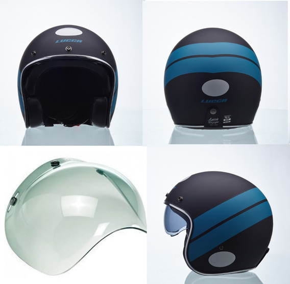 Capacete Lucca Moto Old Sublime Blue Stripe - 2 Viseiras Nf*