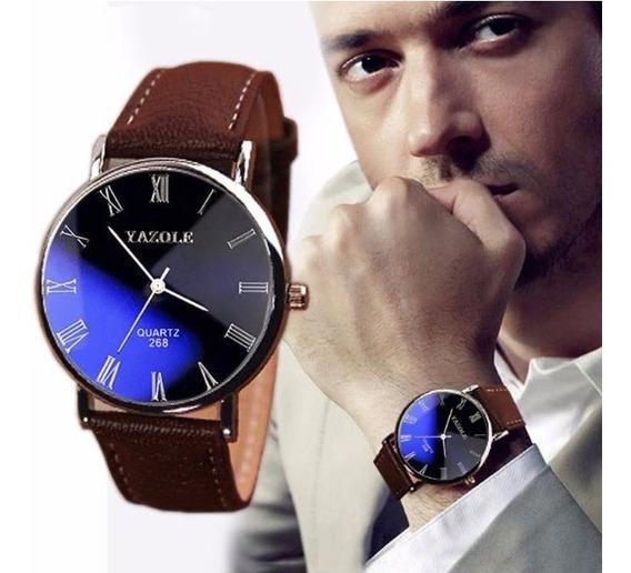Relógio Luxo Masculino Yazolepulso Social Pulseira Couro.