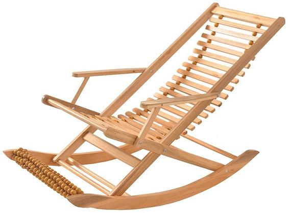 Cadeira Preguiçosa Ripada De Balanço E Pé Massageador