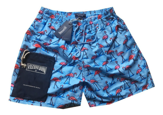 Short / Bermuda Vilebrequin Flamingo Azul Saquinho Etiqueta