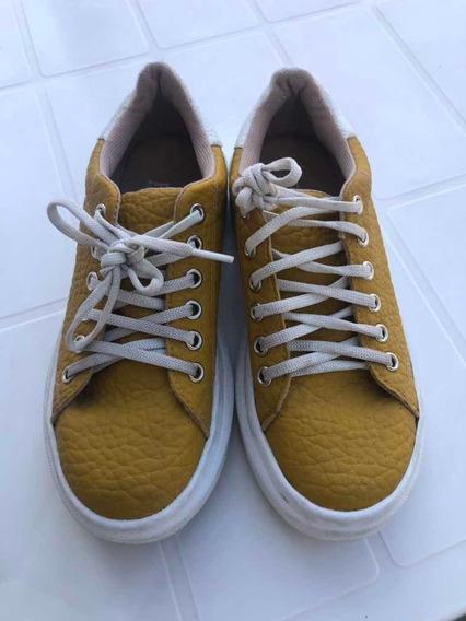 Zapatillas Cuerina Amarillas