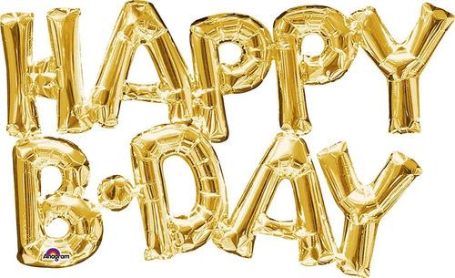 Globos Letrero Happy B-day  Dorado Cumpleaños