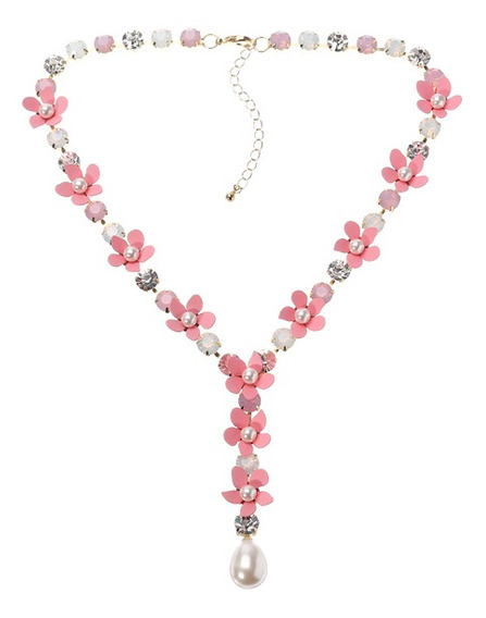 Jassy Pink Flor Pearl Colar Brinco Conjunto De Jóias Mulhere