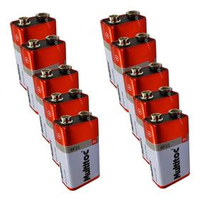 Kit C/ 10 Pilhas Baterias 9v Multitoc 6f22