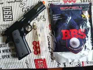 Pistola Airsoft Metal Colt 1911a1 + Bbs + Carregador Rápido