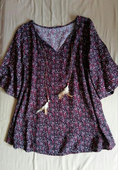 Blusa O Vestido Corto Hippie Chic - Talle Único