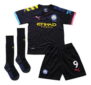Kit Infantil Manchester City Away 2019/2020 - Pronta Entrega