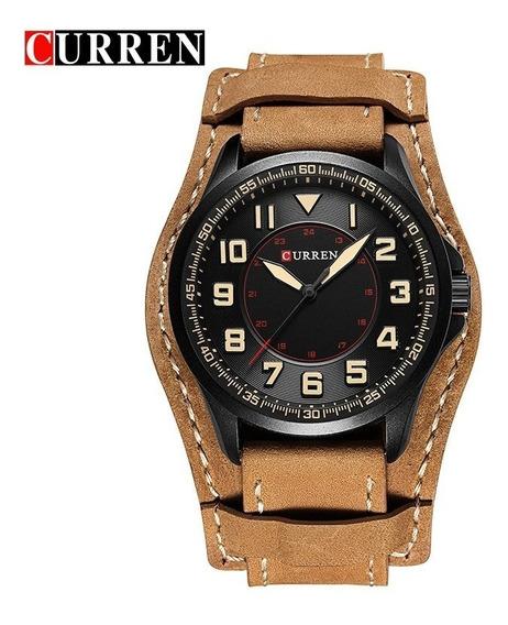 Relógio Analogico Couro Top Militar Original Barato Promoção